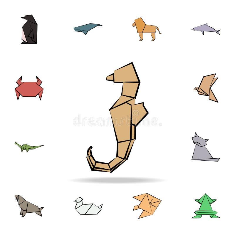 dennego konia origami barwiona ikona Szczegółowy set origami zwierzę w ręki rysować stylowych ikonach Premia graficzny projekt Je ilustracja wektor