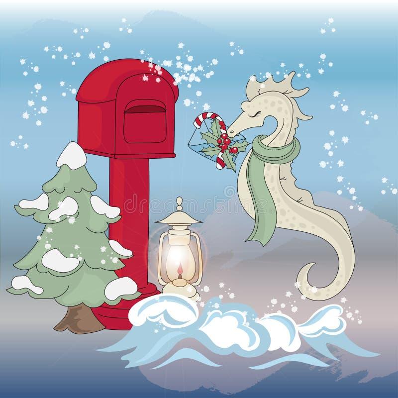 DENNEGO konia poczty nowego roku koloru ilustracji Wektorowy set ilustracji