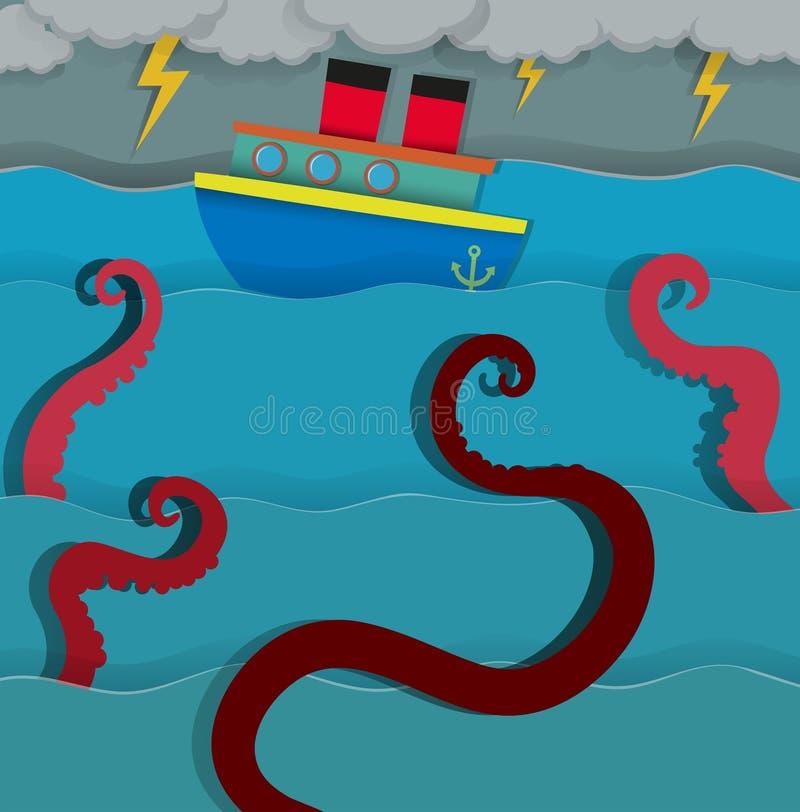 Dennego potwora napadanie walczy łódź ilustracja wektor