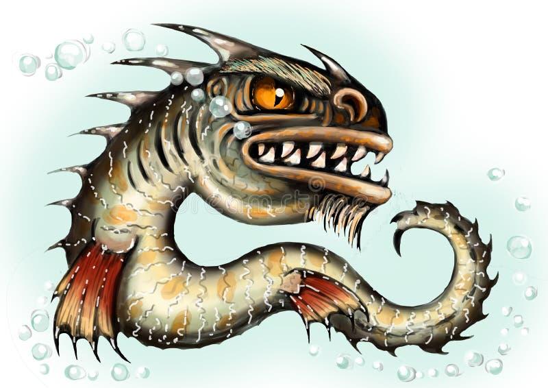 Dennego potwora wodnego smoka ryby mutant Straszny głęboki demon Zły żądny krwi charakter w Halloween koloru dziewczyny ilustracy royalty ilustracja