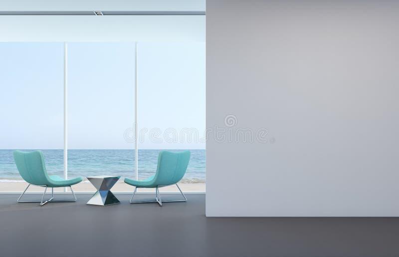 Dennego widoku żywy pokój z biel ścianą w nowożytnym domu obraz stock