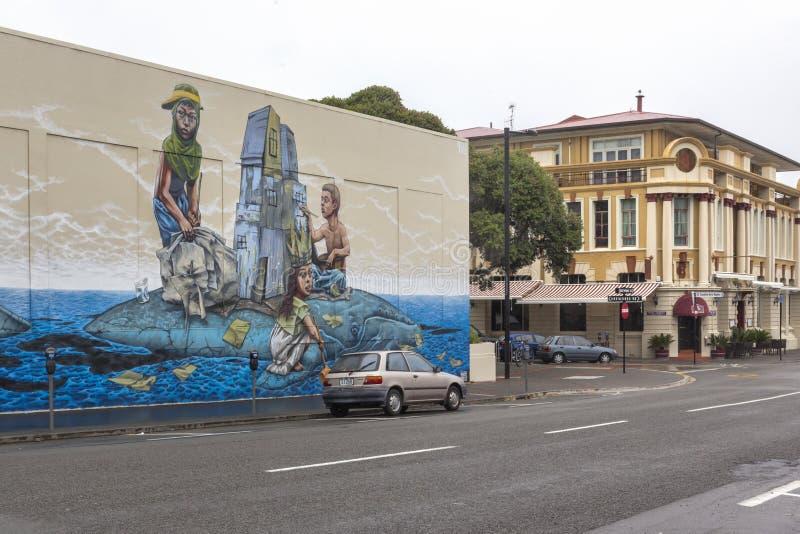 Dennej ściany malowidło ścienne w Napier, Nowa Zelandia zdjęcia royalty free