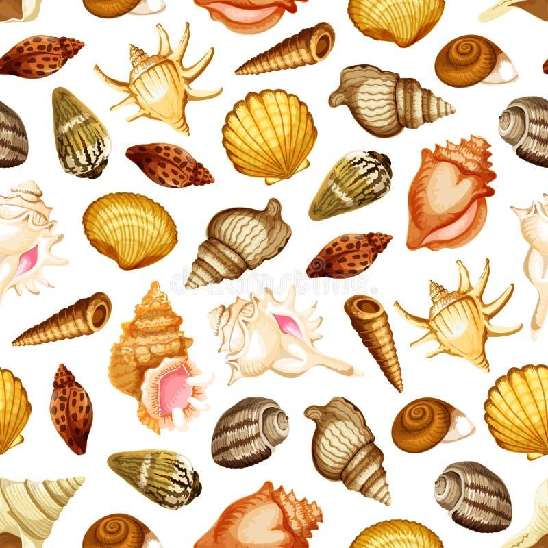 Dennej skorupy bezszwowy wzór z morskim mollusk ilustracji