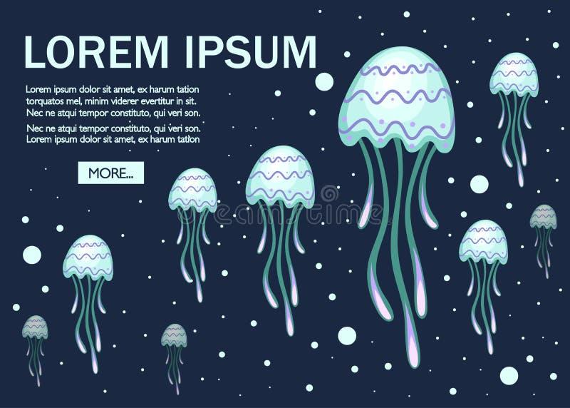 Dennej zieleni jellyfish z wzorem Tropikalny podwodny zwierz? Meduza nadwodny organizm, kresk?wka stylu projekt mieszkanie ilustracja wektor
