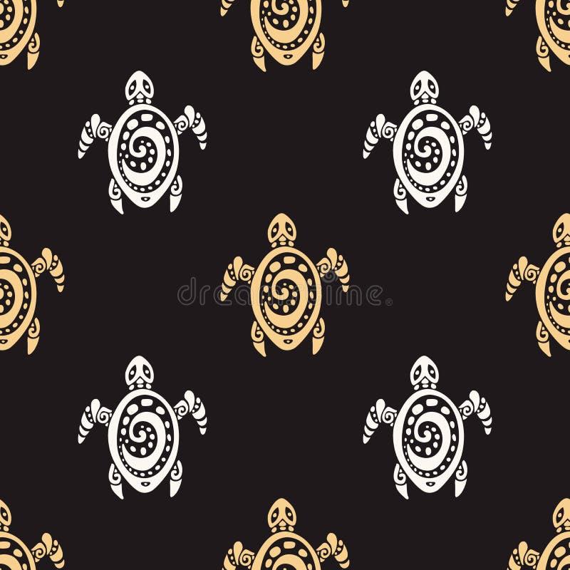 Denni żółwie wektor bezszwowy wzoru ilustracja wektor