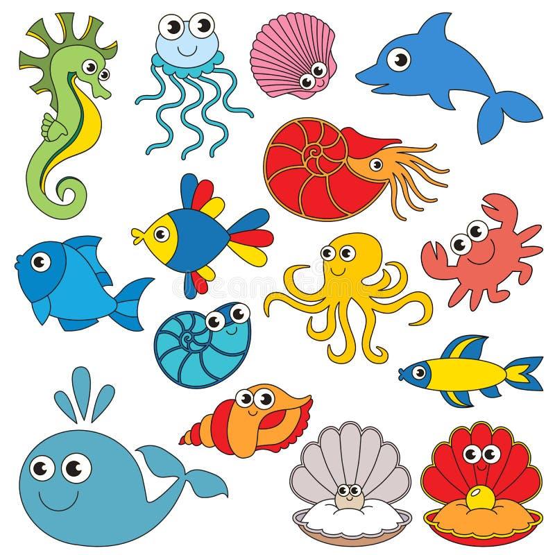 Denni podwodni zwierzęta ustawiają kolekcja kolorystyki książki szablon grupa konturów cyfrowi elementy ilustracji