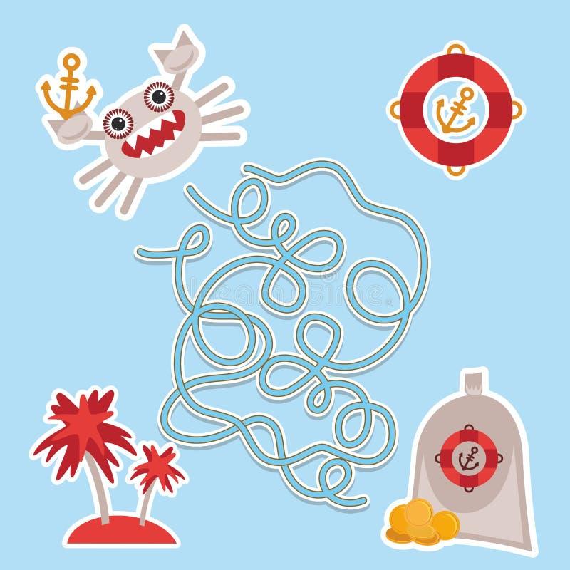 Denni zwierzęta, łódź piraci śliczny morze protestuje inkasową labitynt grę dla Preschool dzieci wektor ilustracja wektor