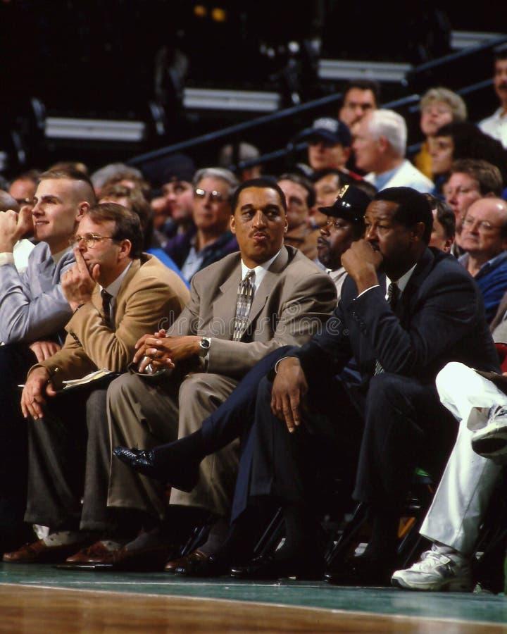 Dennis Johnson e m. L Carr, Boston Celtics fotografia stock libera da diritti
