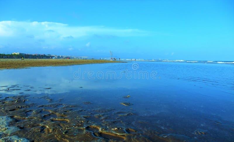 Denny †‹â€ ‹widok od plaży Walencja Hiszpania obraz royalty free
