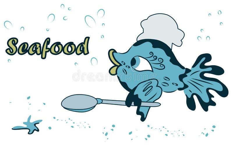 Denny śliczny ryba kucharz z łyżką w żebrze w kreskówka stylu ilustracja wektor