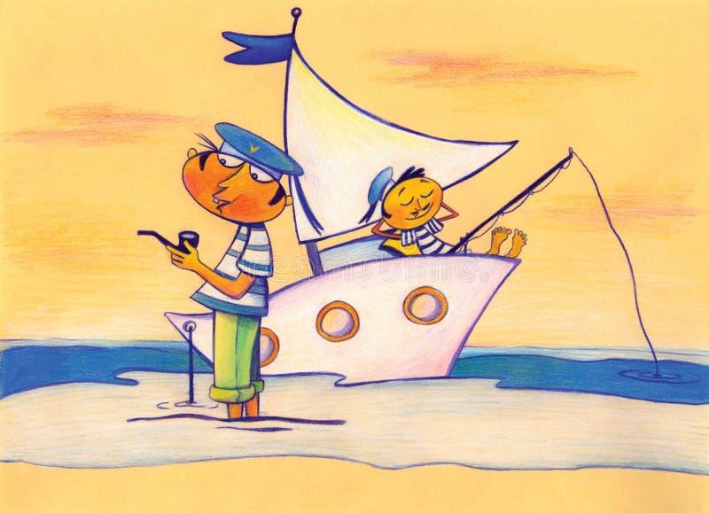 denny żeglarza statek dwa ilustracji