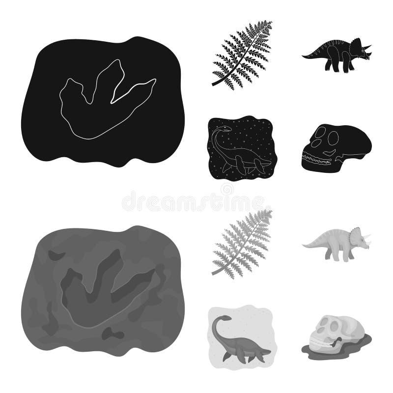 Denny dinosaur, triceratops, prehistoryczna roślina, ludzka czaszka Dinosaur i prehistorycznego okresu ustalone inkasowe ikony w  ilustracja wektor
