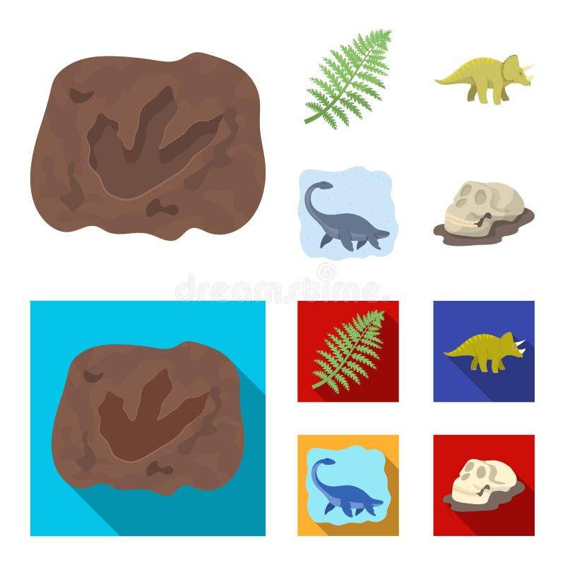Denny dinosaur, triceratops, prehistoryczna roślina, ludzka czaszka Dinosaur i prehistorycznego okresu ustalone inkasowe ikony we royalty ilustracja