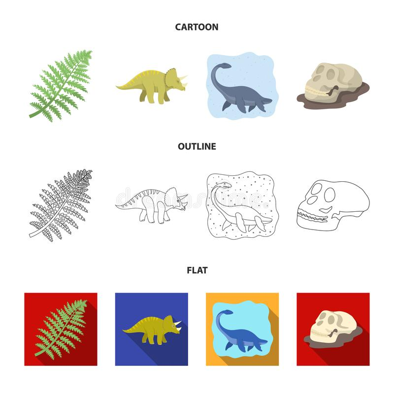Denny dinosaur, triceratops, prehistoryczna roślina, ludzka czaszka Dinosaur i prehistorycznego okresu ustalone inkasowe ikony we ilustracja wektor