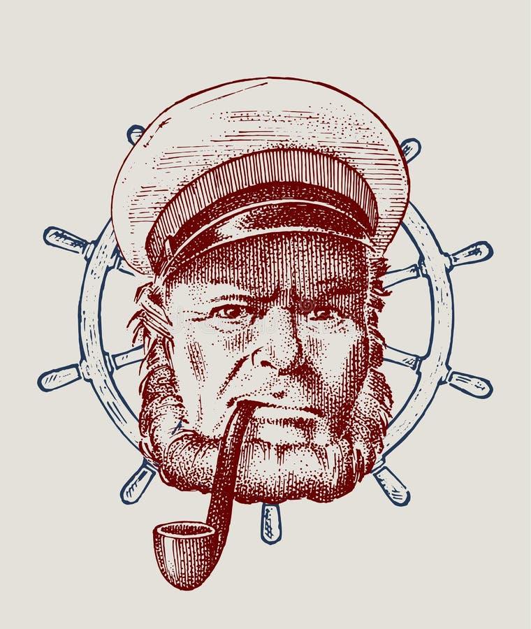 Denny kapitan, kierownica, morski stary żeglarz z drymbą i bluejacket, portret żeglarz podróż statkiem lub ilustracji