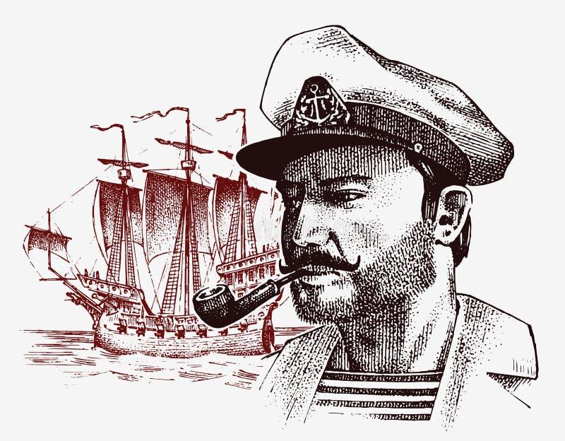 Denny kapitan przeciw tłu żaglówka, morski żeglarz z drymbą, bluejacket portret żeglarz podróż obok ilustracji