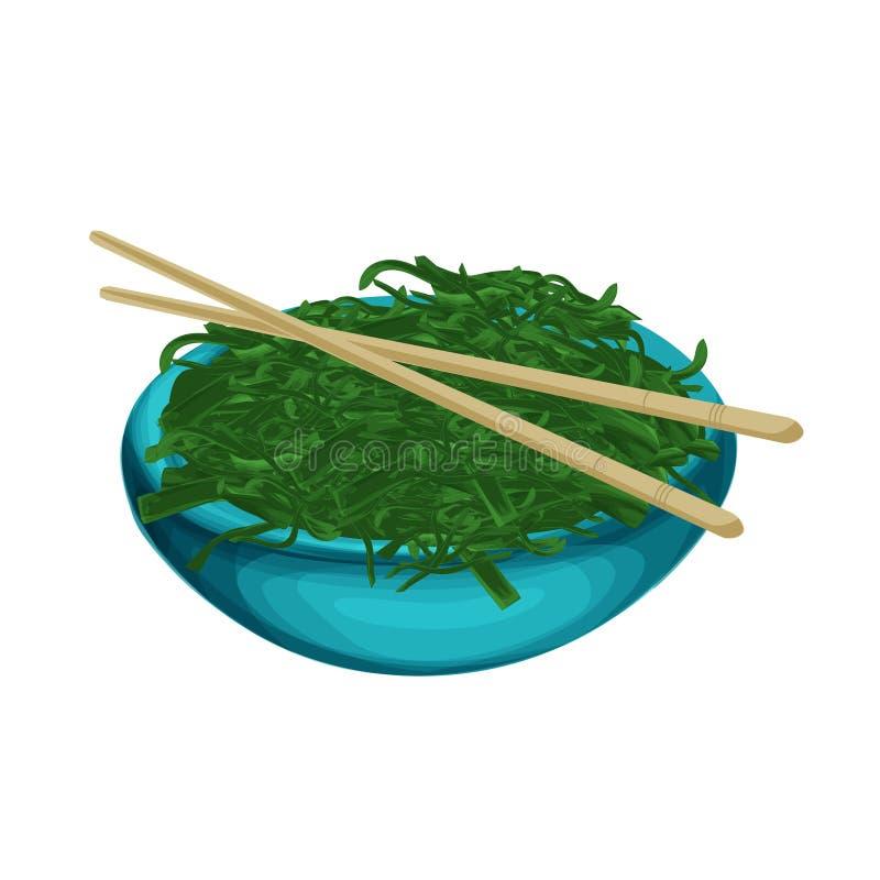 Denny Kelp Morski jedzenie, japońska karmowa smakowita wektorowa realisitic ilustracja dla gemowej sztuki, menu, plakat ilustracja wektor