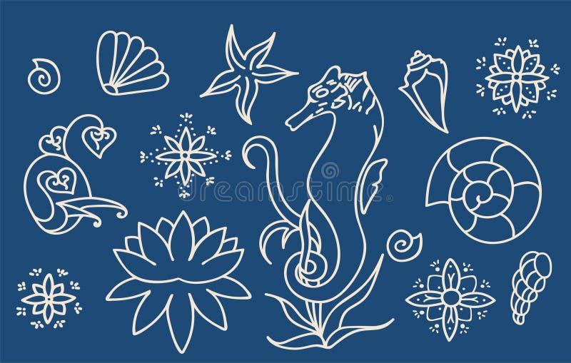Denny koń, skorupy i doodle elementy, Graficzna dennego życia kolekcja Wektorowe ocean istoty odizolowywać na zmroku - błękitny t royalty ilustracja