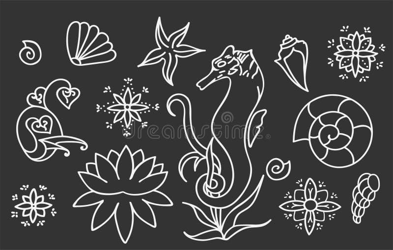 Denny koń, skorupy i doodle elementy, Graficzna dennego życia kolekcja Wektorowe ocean istoty odizolowywać na zmroku - szary tło ilustracja wektor