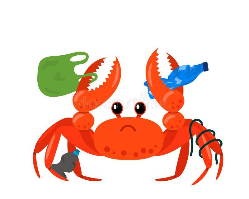 Denny krab plątający w klingerycie na tle wysypiska i torby na śmiecie na plaży nabrzeżny zanieczyszczający odchody ludzcy ilustracja wektor