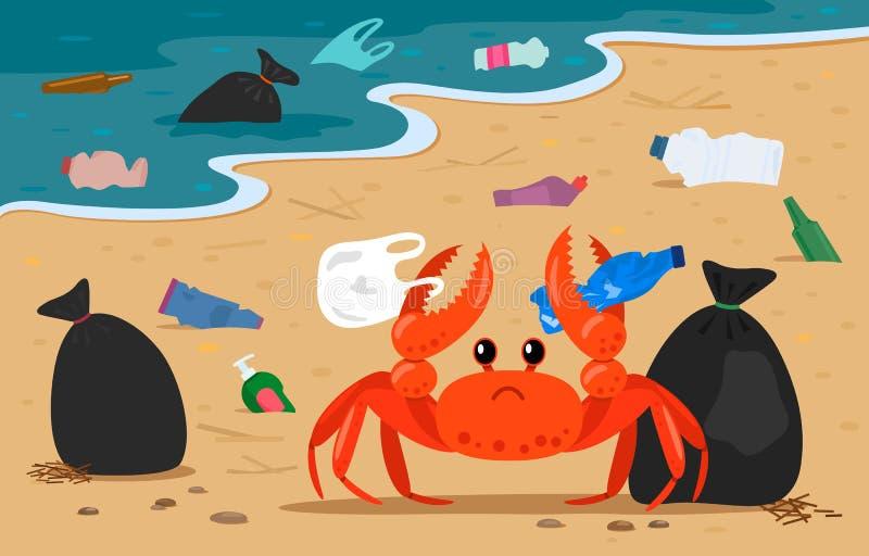 Denny krab plątający w klingerycie na tle wysypiska i torby na śmiecie na plaży P?aska wektorowa ilustracja ilustracja wektor