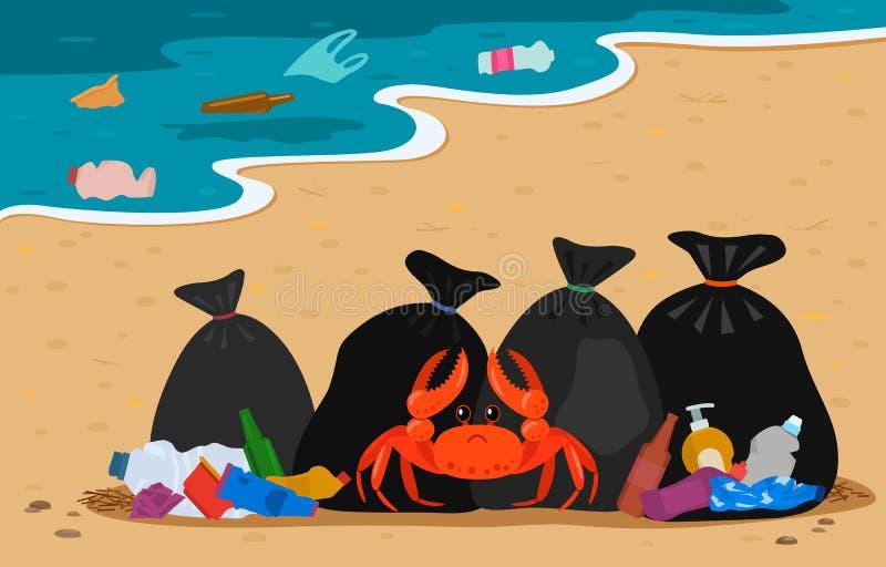 Denny krab plątający w klingerycie na tle wysypiska i torby na śmiecie na plaży zanieczyszczający wybrzeże odchody ludzcy gacenie ilustracji