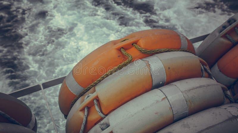 Denny Lifebuoy pierścionek Na łodzi fotografia stock