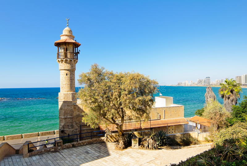 Denny meczet w antycznym Jaffa obrazy royalty free