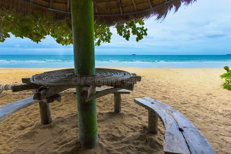 Denny piasek i słońce patrzeje od plaży pod dużym zielonym drzewem pięknej i pokojowej Plaża siedzącego terenu ławkę i małego coc zdjęcie royalty free