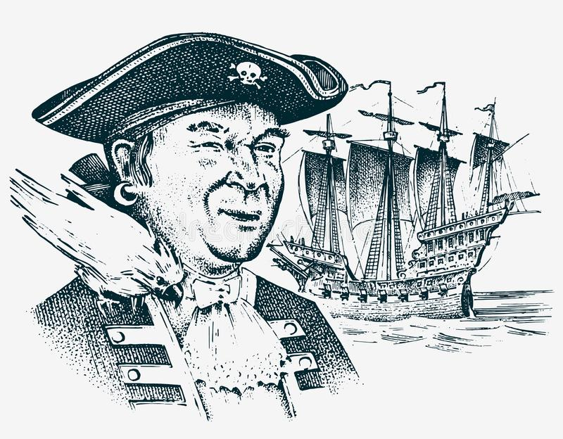 Denny pirat Portret żeglarza haczyk przeciw tłu żaglówka Morski żeglarz podróż statkiem lub łodzią ilustracji