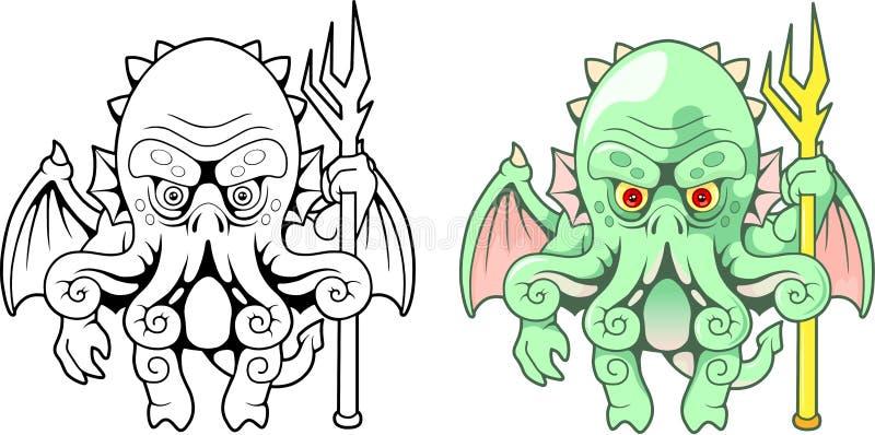 Denny potwór Cthulhu, śmieszna ilustracja ilustracja wektor