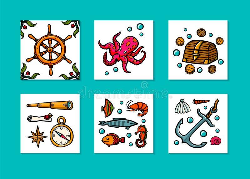 Denny przygody karty set Morska ręka rysujący wektorów przedmioty Doodle stylowa wektorowa ilustracja royalty ilustracja