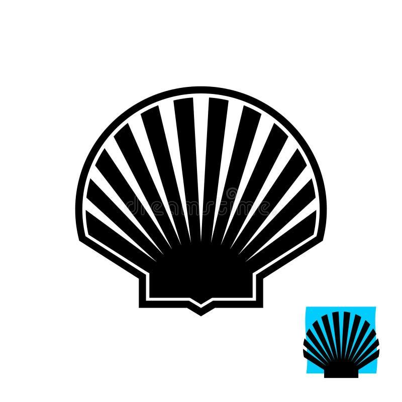 Denny skorupy czerni sylwetki znak Przegrzebka logo ilustracji
