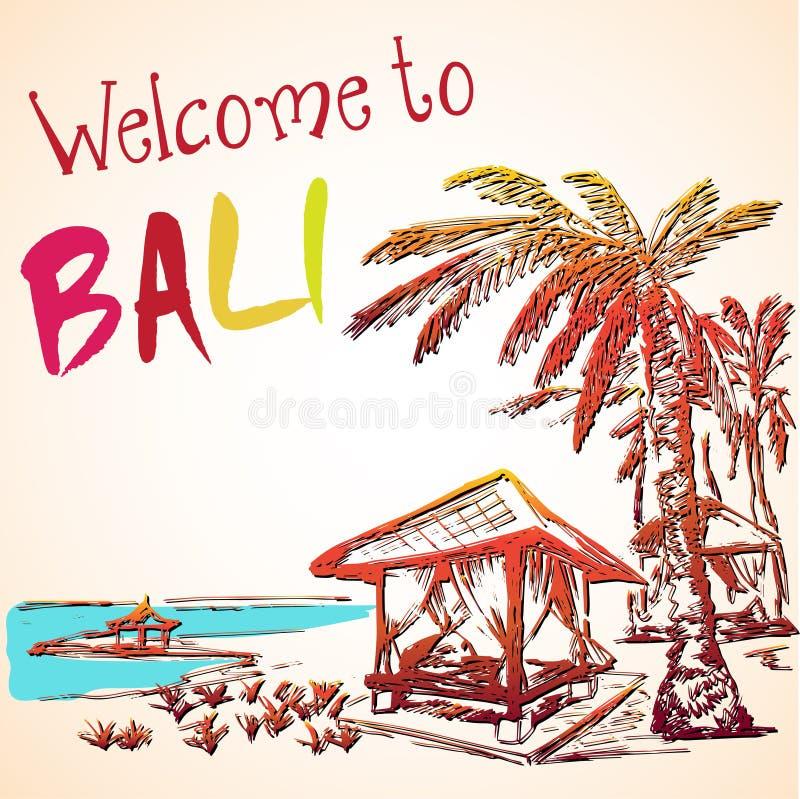 Denny widok Bali kurort royalty ilustracja