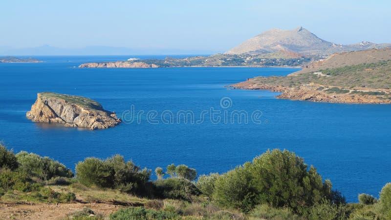 Denny widok od świątyni Poseidon przy przylądkiem Sounion zdjęcie stock