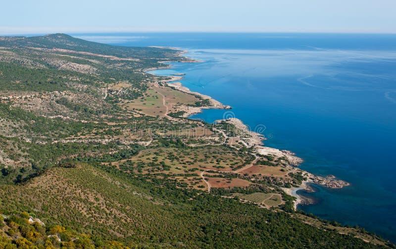 Denny widok od samolotu Cypr blisko Pafos zdjęcie stock