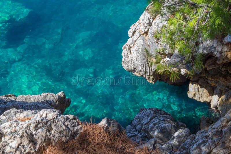 Denny widok Piękny widok od góry spokojny Adriatycki morze Błękita jasnego woda i ampuła kamienie obraz stock