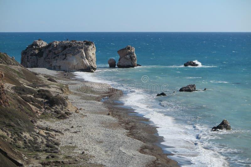 DENNY widok W PAPHOS, CYPR - APHRODITE ` S skała obrazy stock