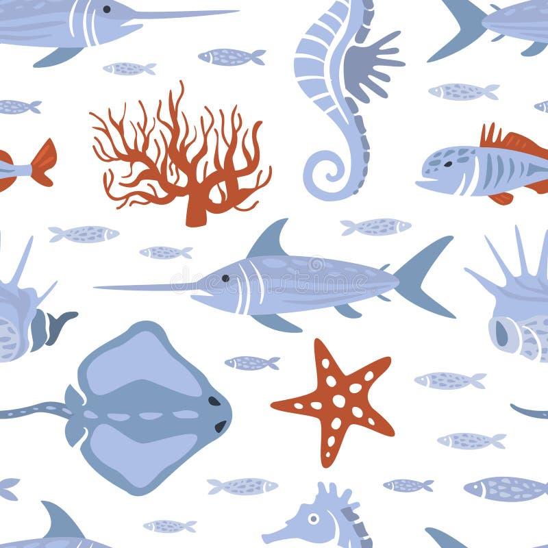 Dennych istot Bezszwowy wzór, Podwodny życie, Morskich ryb projekta element Może Używać dla tapety, Pakujący ilustracji