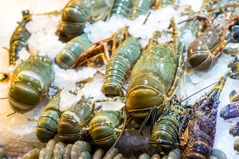 Dennych taca rynku Asia ustalonych homarów wielkie średnie tygrysie garnele w lodowym świeżym produkcie dla obiadowej menu bazy fotografia stock