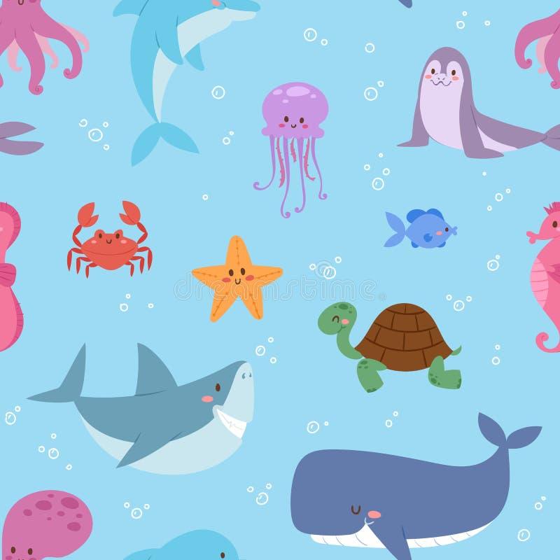 Dennych zwierząt charakteru przyrody ilustracyjnych tropikalnych morskich nadwodnych ryba sealess deseniowy wektorowy tło ilustracja wektor