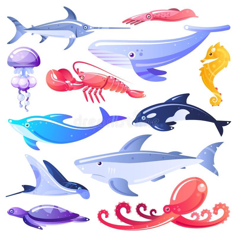 Dennych zwierząt i ryb kreskówki ilustracja Morskiego życia projekta elementy Oceanów mieszkanowie odizolowywający na białym tle royalty ilustracja