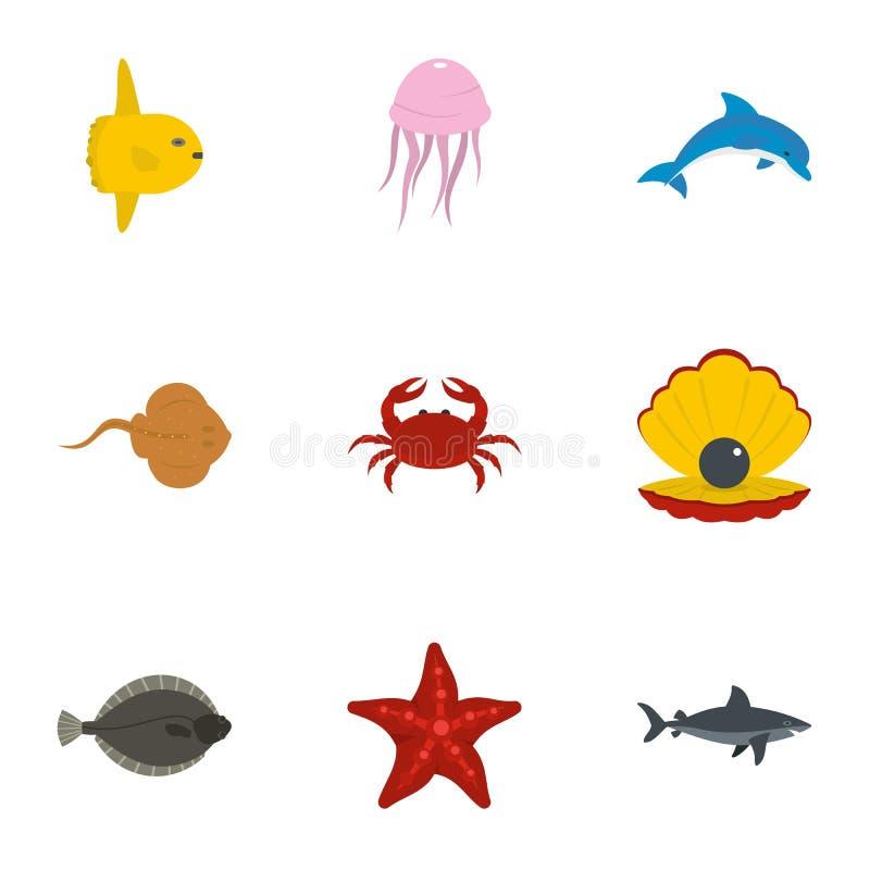 Dennych zwierząt ikony ustawiać, mieszkanie styl ilustracji