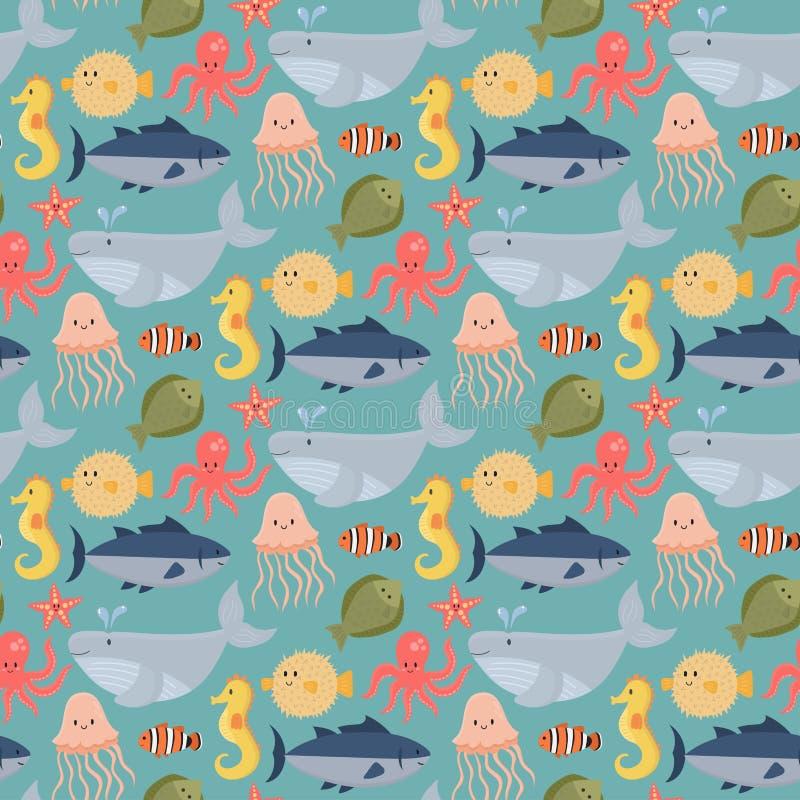 Dennych zwierząt istot charakterów kreskówki oceanu wektorowej przyrody akwarium życia wody morska podwodna grafika nadwodna ilustracji