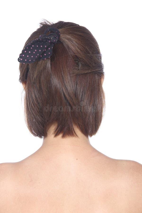 A denominação do cabelo gerencie para trás a vista, mulher asiática antes compõe nenhum reto imagens de stock
