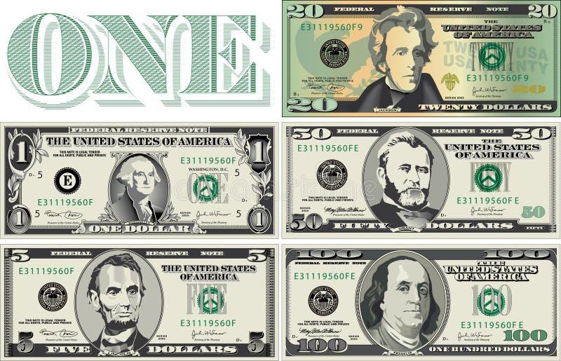 Denominações da moeda ilustração royalty free