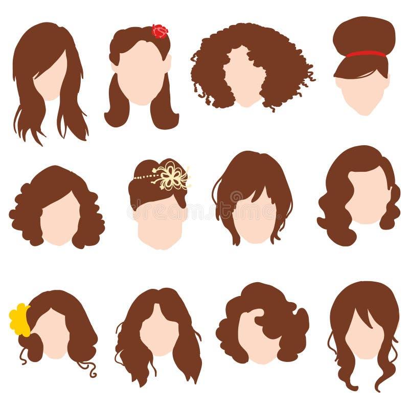 Denomina as silhuetas do cabelo, penteado da mulher com cabelo marrom ilustração stock
