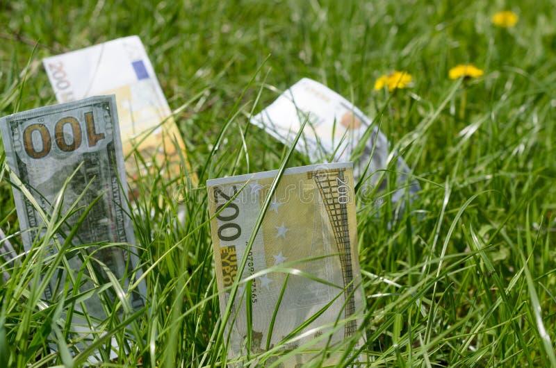 Denominaciones de dólares y de euros en hierba verde foto de archivo libre de regalías