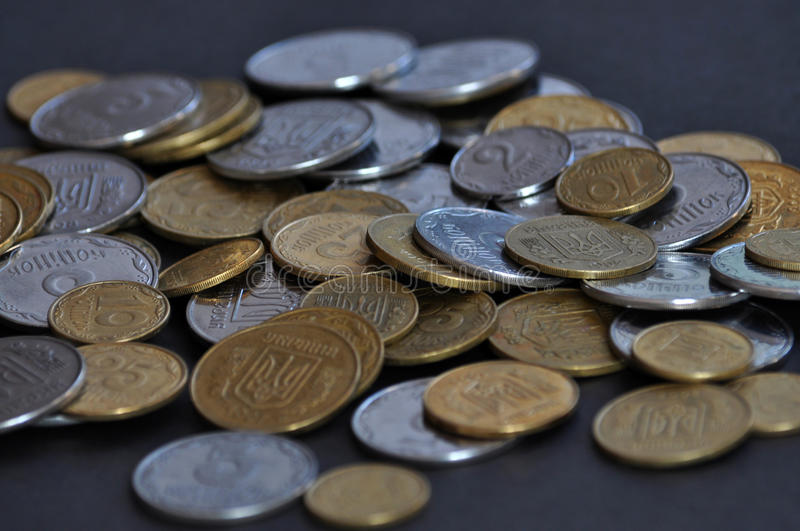 The denominations Ukrainian change and circulating coins. Used as a means of monetary and payments royalty free stock photography