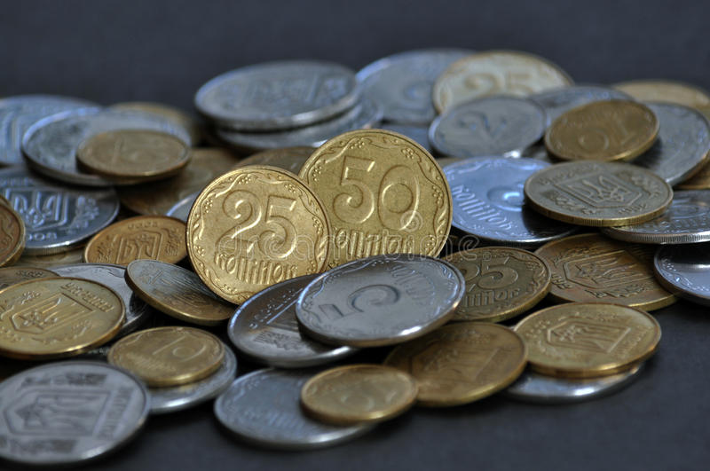 The denominations Ukrainian change and circulating coins_2. The denominations Ukrainian change and circulating coins, used as a means of monetary and payments royalty free stock image